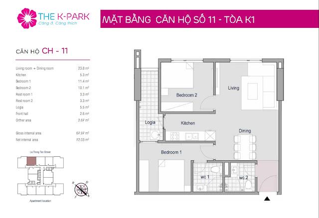 Thiết kế căn hộ 11 - Dt 67m2 - 02 phòng ngủ