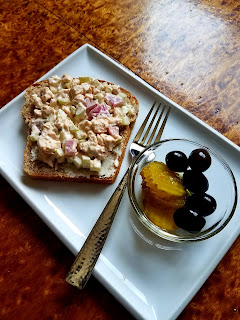 BBQ Chicken Salad sandwich, open-faced style!