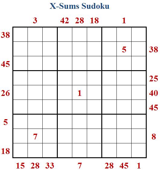 X-Sums Sudoku (Fun With Sudoku #210)
