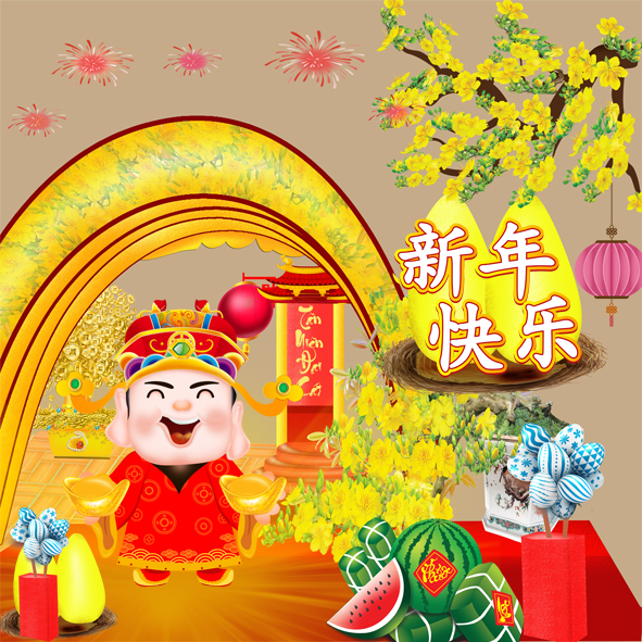 Chinese New Year Greeting With God vector