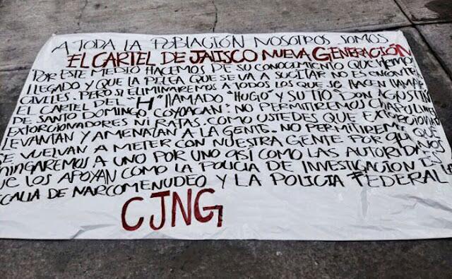 """""""Hemos llegado"""" a la CDMX para pelear contra """"El H"""", advierte narcomanta del CJNG"""