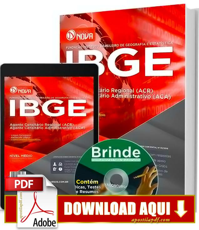 Apostila IBGE Agente Censitário Administrativo Impressa PDF Download Grátis 2016