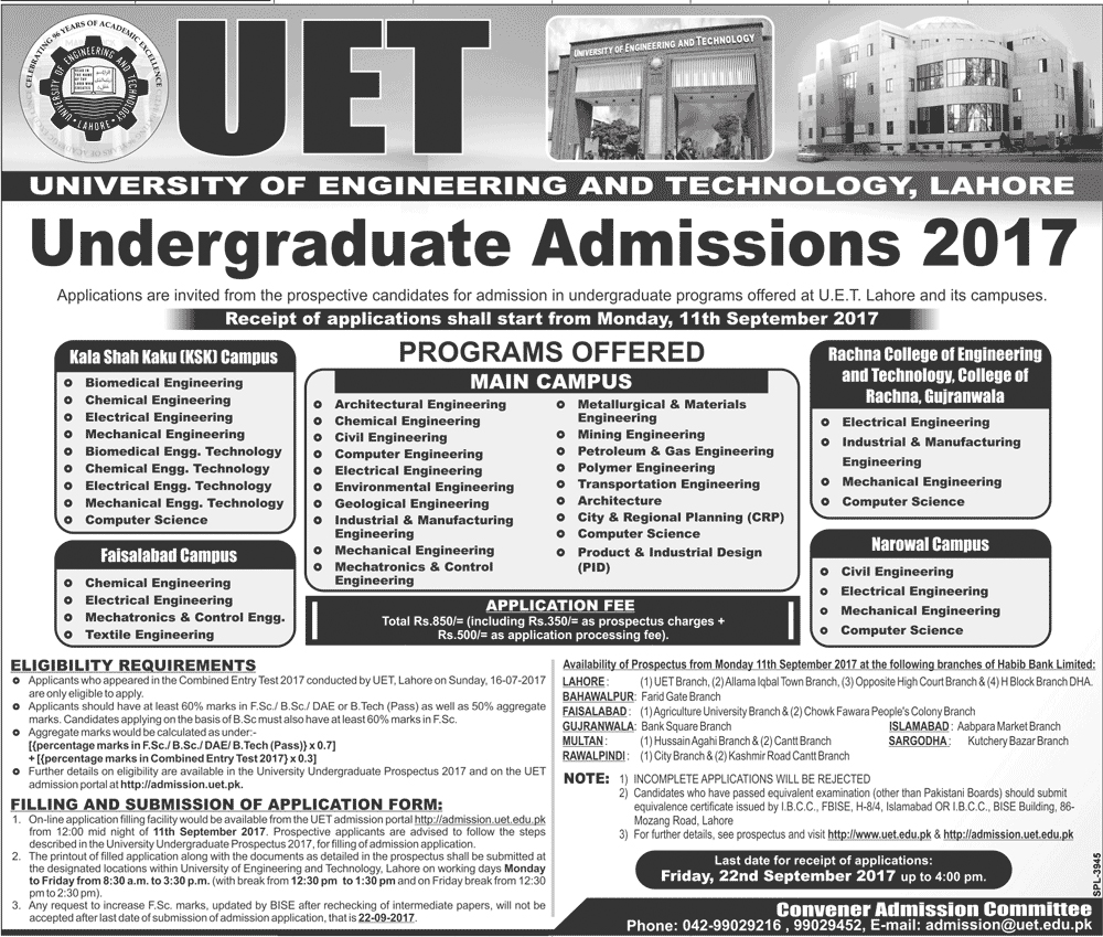 Admissions Open in University of Engineering and Technology UET Lahore