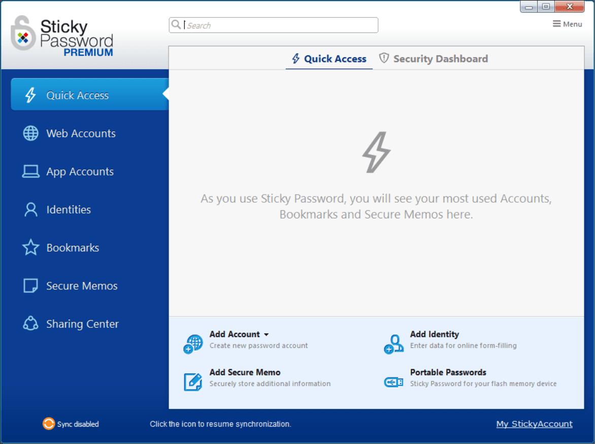 Sticky Password Main Interface Screenshot