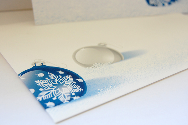 Upclose photo of the Cobalt Christmas Envelope front from Paper Direct