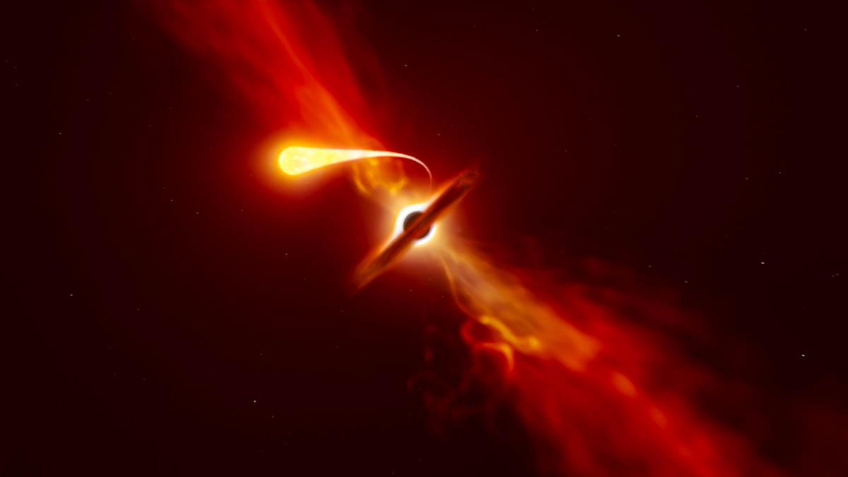 Telescópios registram últimos momentos de estrela devorada por buraco negro