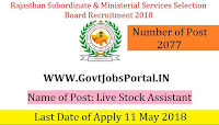 Rajasthan Subordinate & Ministerial Services Selection Board Recruitment 2018– 2077 Live Stock Assistant