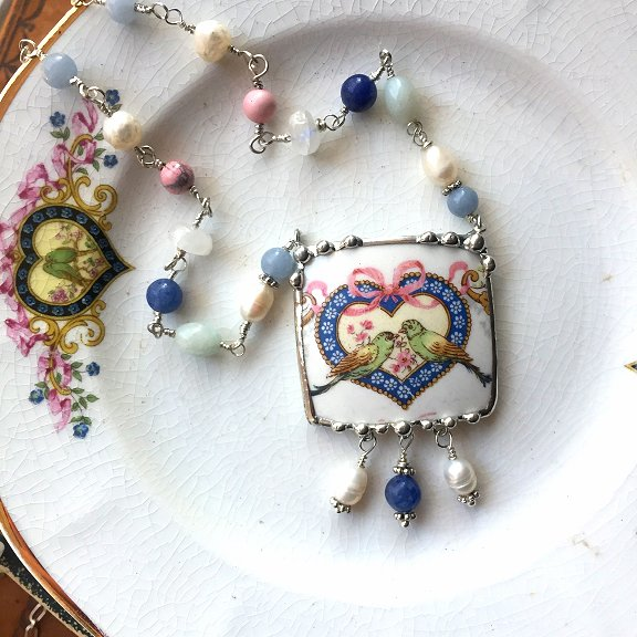 Broken china jewelry by Laura Beth Love