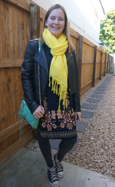 floral swing dress layered for winter with leather jacket, converse, leggings, rebecca minkoff aqua mini mac bag, yellow scarf | awayfromblue