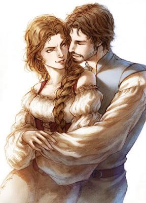 Ilustración de Lynne y Arthmael realizada por la ilustradora Lehanan Aida para la novela de fantasía Títeres de la Magia de G. Parente y Selene M. Pascua