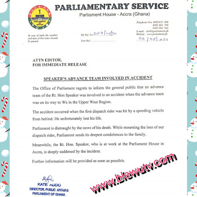 Document on accident of the speaker of parliament