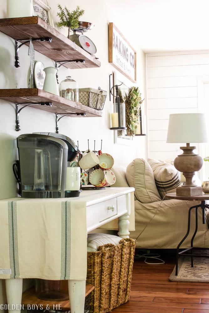 DIY wood shelves in open floor plan