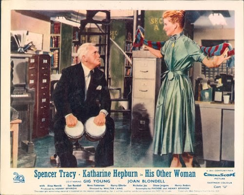 His Other Woman Desk Set Spencer Tracy Katharine Hepburn Jingle Bells Night And Day Bongo Drum Rendition Vintage Lobby Card