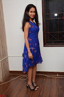 Pallavi Dora Actress in Sleeveless Blue Short dress at Prema Entha Madhuram Priyuraalu Antha Katinam teaser launch 053.jpg