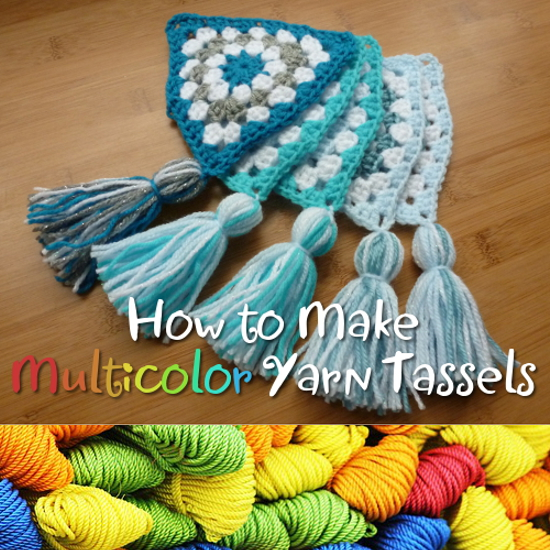 Multicolor yarn and crochet tassels in multiple colors