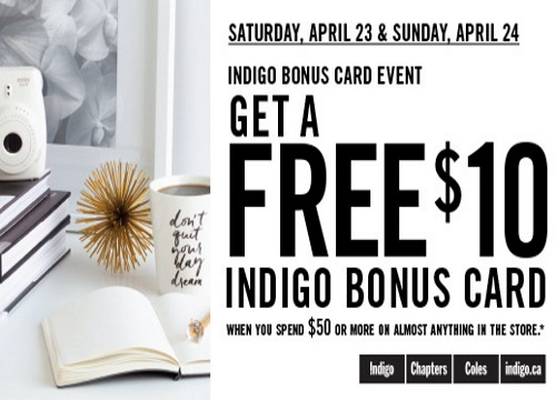 Shoppers Drug Mart Free $10 Indigo Bonus Card