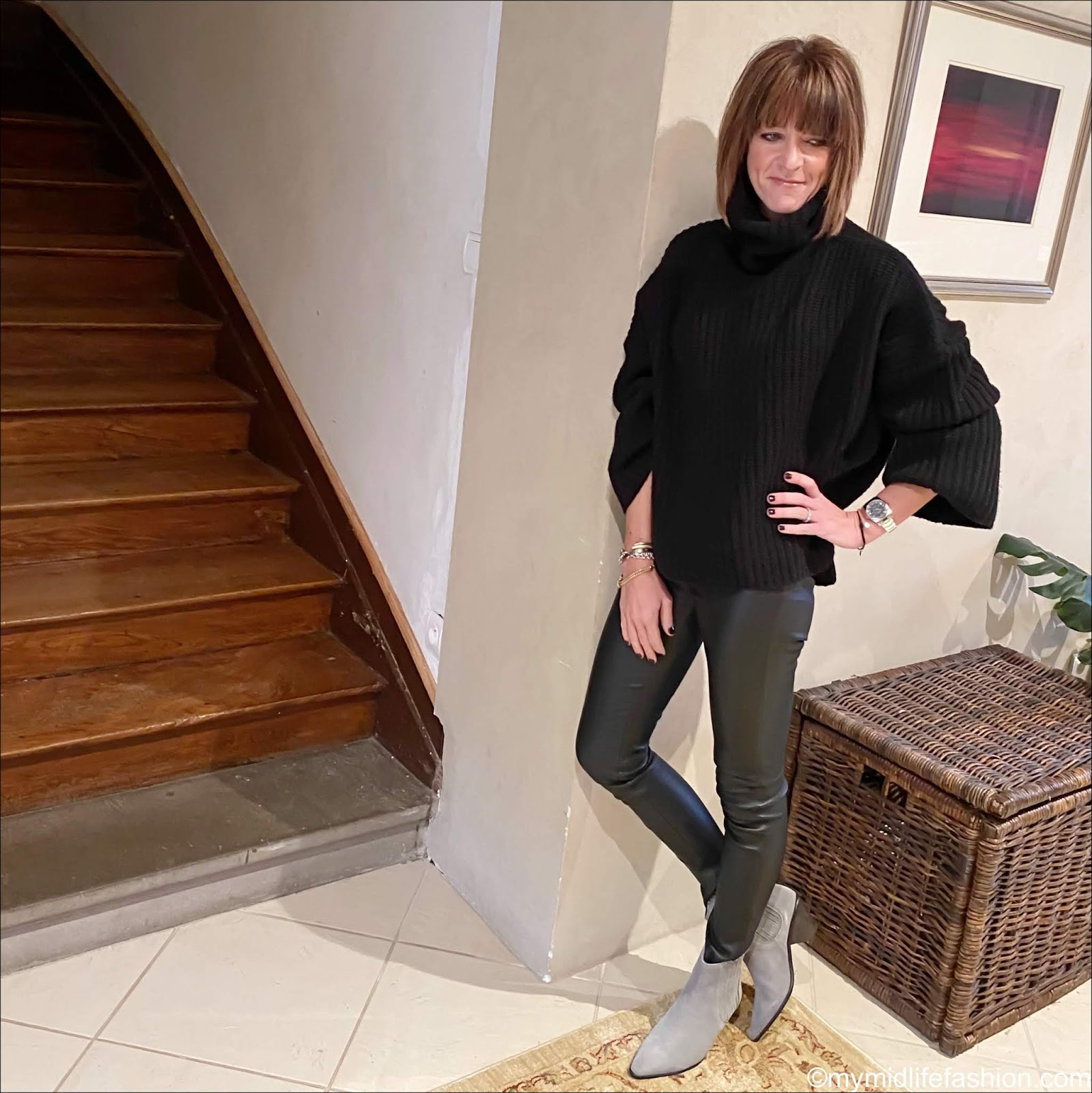 my midlife fashion, Joseph oversized poncho, hush leather leggings, jigsaw suede western heel ankle boots