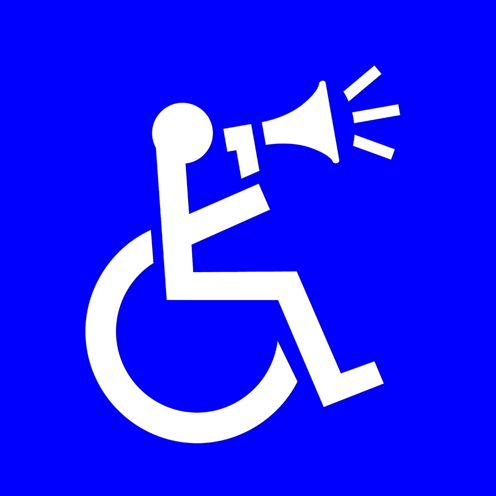 Profile photo: Wheelchair symbol with the person speaking into a megaphone.