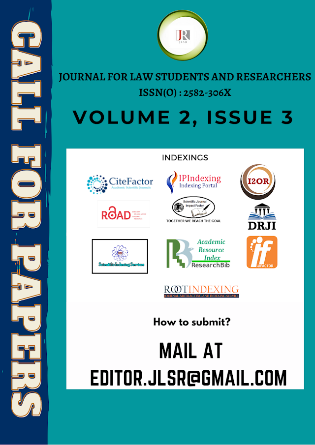 [Call for Papers] Journal for Law Students & Researchers (Volume 2 Issue 3) [Submit by 1 June 2021]