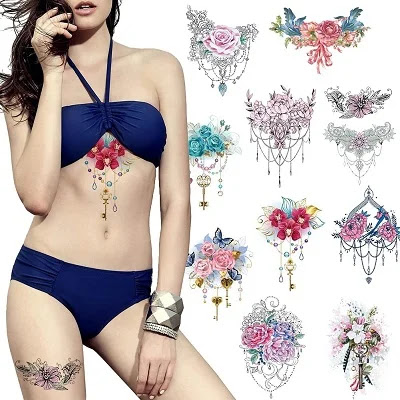 Romantic Temporary Flower Tattoos 10 Pcs for Women, Scar Cover Up Makeup Fake Tattoos Body