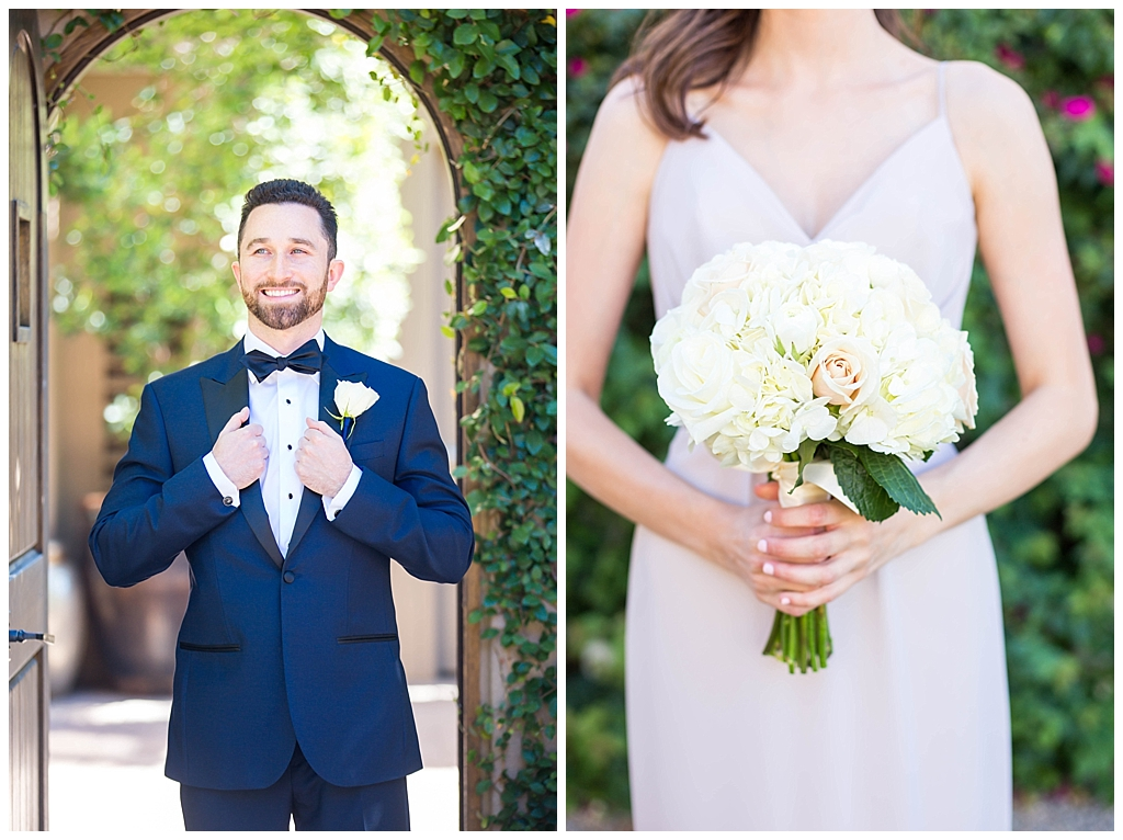 groom in navy suit and beautiful white bouquet