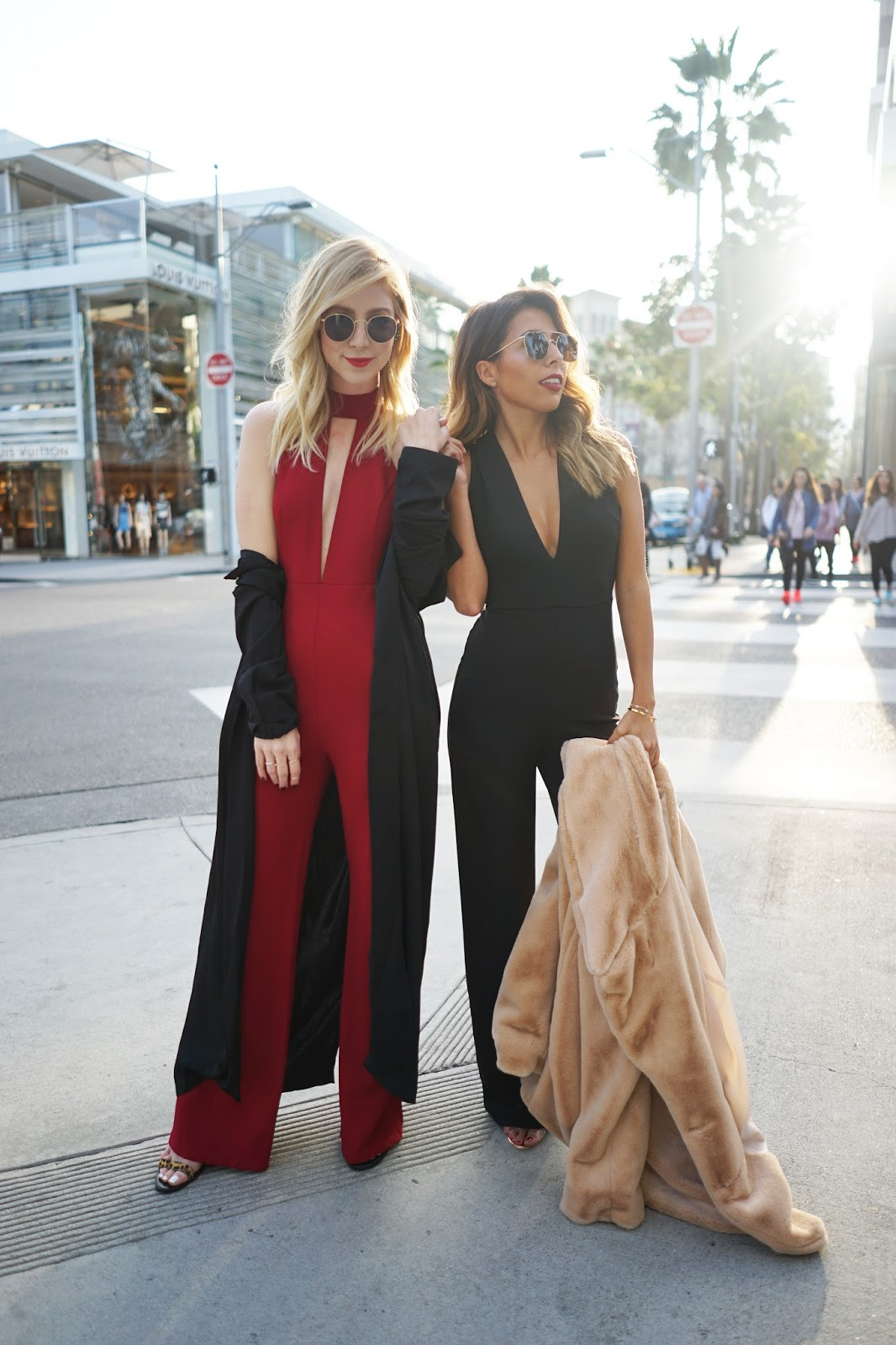 what to wear to holiday party, how to wear a jumpsuit, blogger photos shoot rodeo beverly hills