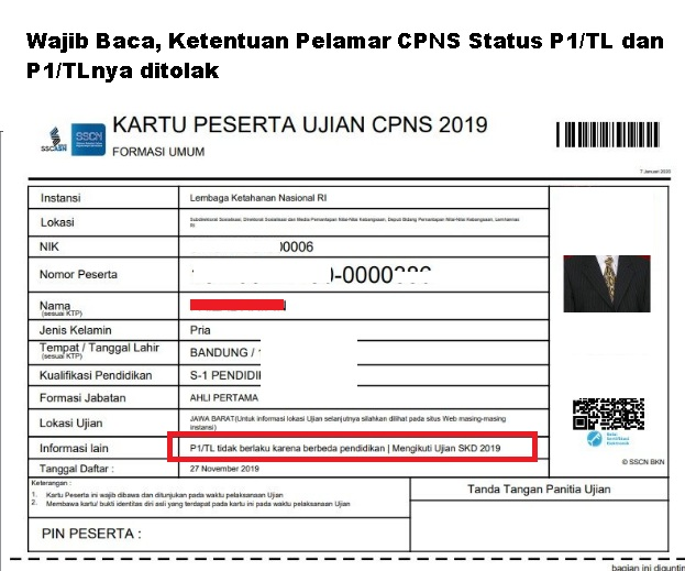 Wajib Baca, Ketentuan Pelamar CPNS Status P1/TL dan P1/TLnya ditolak