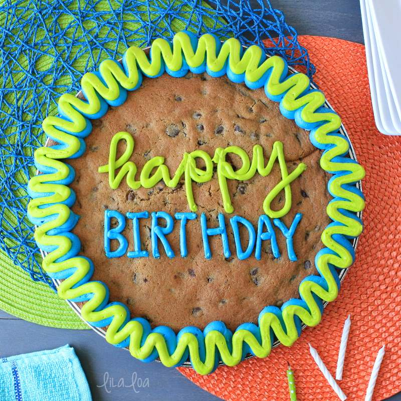 Bright and happy chocolate chip cookie cake for a birthday