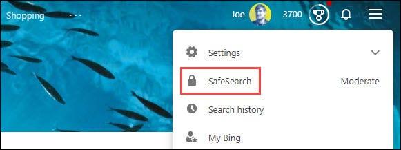 """حدد """"البحث الآمن""""."""