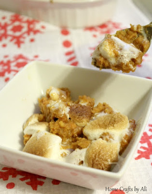 dished up homemade holiday sweet potato casserole
