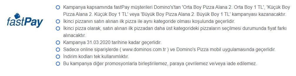 Dominos Pizza, fastPay Kampanyası 2020