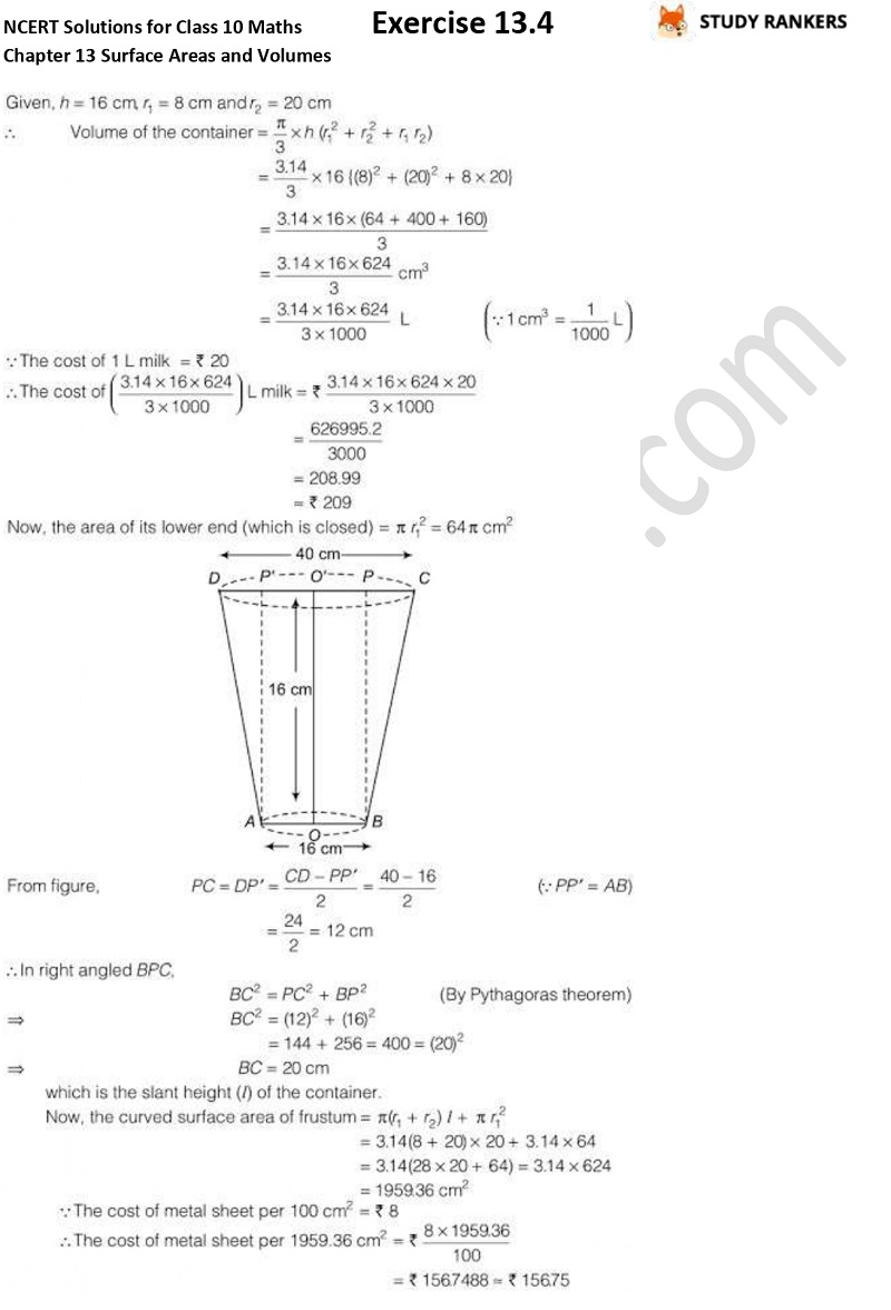 NCERT Solutions for Class 10 Maths Chapter 13 Surface Areas and Volumes Exercise 13.4 Part 4