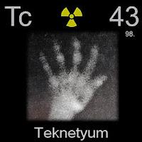 Teknetyum elementi üzerinde teknetyumun simgesi, atom numarası ve atom ağırlığı.