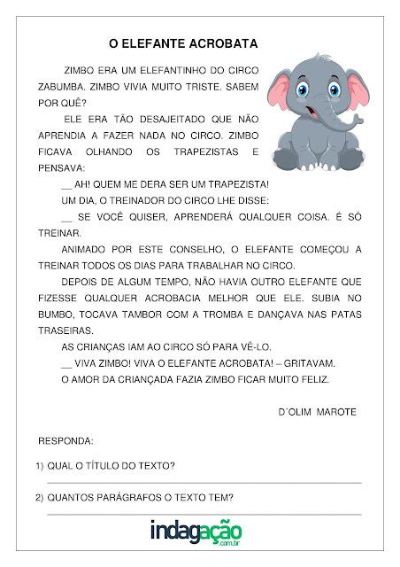Atividade O elefante acrobata (Trabalhando Narrativas) para imprimir grátis