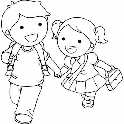 Tranh tô màu bé vui đến trường