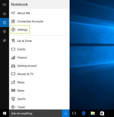 tempat meng-setting Cortana pada Windows 10