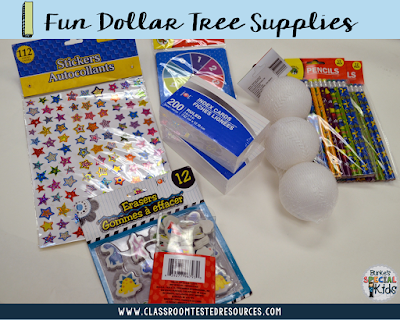 Dollar tree supplies for student created math games