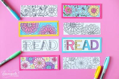 Imprimibles sobre el día del libro:  Marcapáginas para colorear en By Dawn Nicole