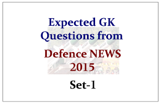 Expected GK Questions from Defence NEWS 2015 Set-1