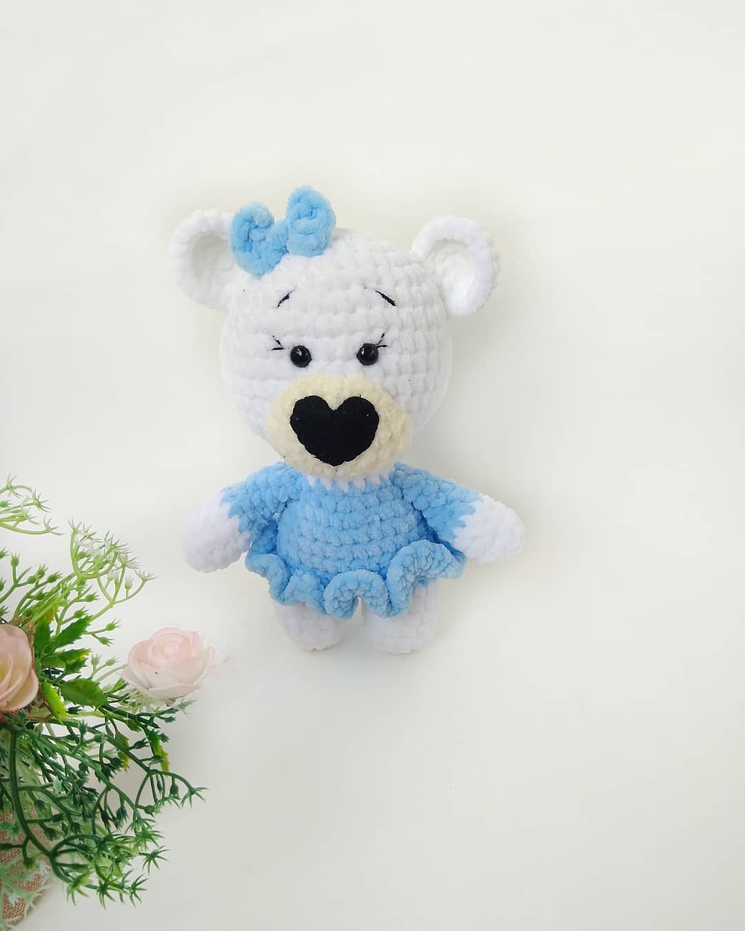 Amigurumi plush bear in dress
