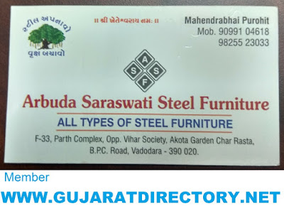 ARBUDA SARASWATI STEEL FURNITURE - 9099104618 9825523033 GST NO: 24CUTPP8267R1Z8