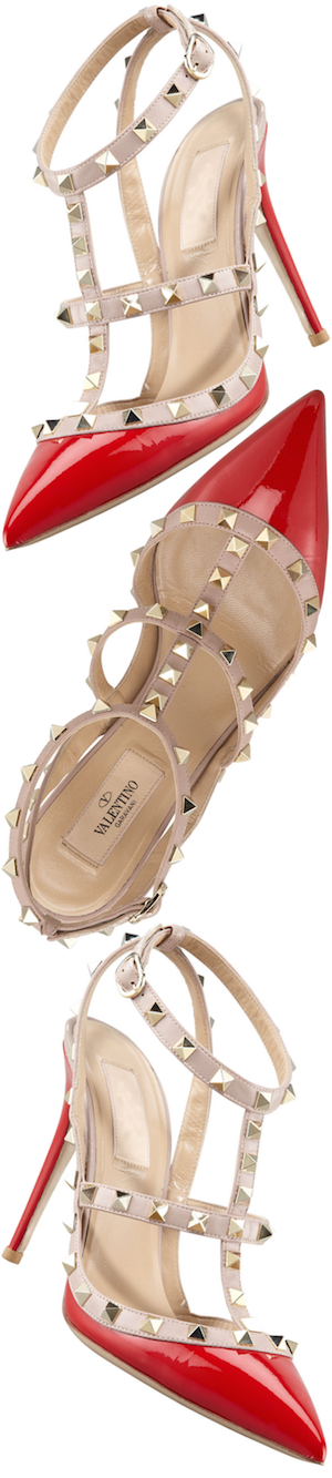 Valentino Rockstud Two-Tone Patent Sandal, Red