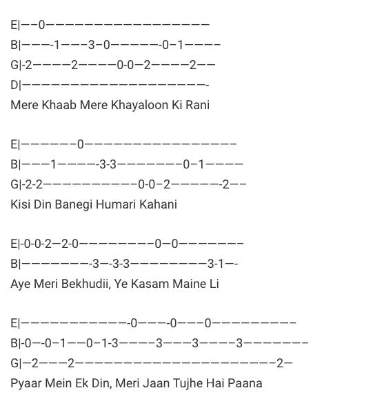 O O Jaane Jaana Guitar Tabs / O O Jaane Jaana Guitar Lead – Pyar Kiya To Darna Kya / Hindi Songs Tabs / Best of Bollywood / Chords / Intro