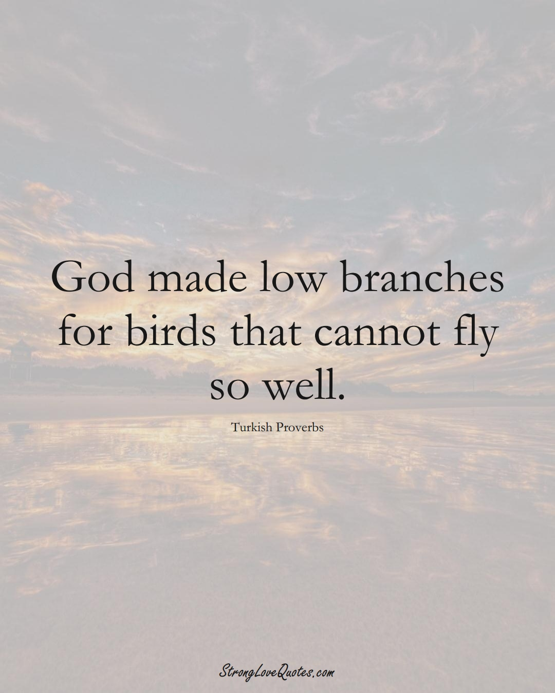 God made low branches for birds that cannot fly so well. (Turkish Sayings);  #MiddleEasternSayings