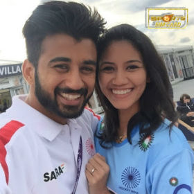Indian Hockey Player Manpreet Singh with his wife photo
