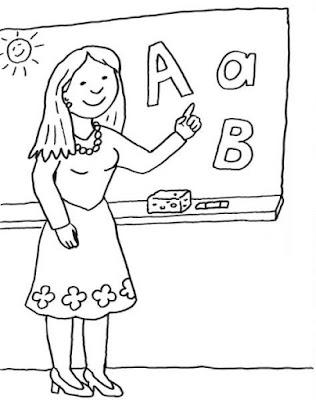 Tranh tô màu cô giáo đứng giảng bài