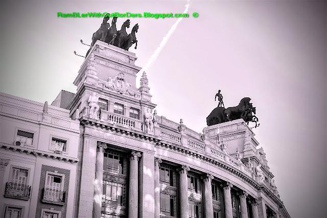 Quadriga (four horse chariot), BBVA Building, Calle de Alcala, Madrid, Spain
