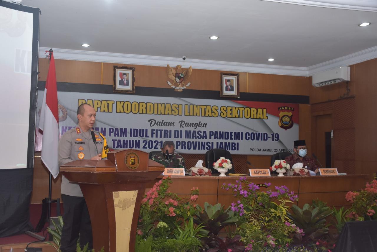 Polda Jambi menggelar Rapat Koordinasi Lintas Sektoral dalam rangka persiapan menyambut Hari Raya Idul Fitri