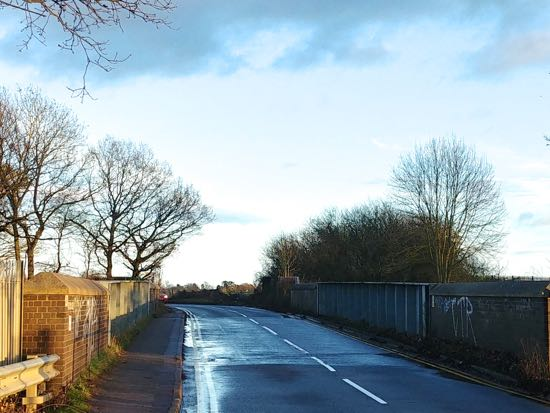 A similar view of the bridge along Hawkshead Lane in 2019 Image by North Mymms News released under Creative Commons BY-NC-SA 4.0
