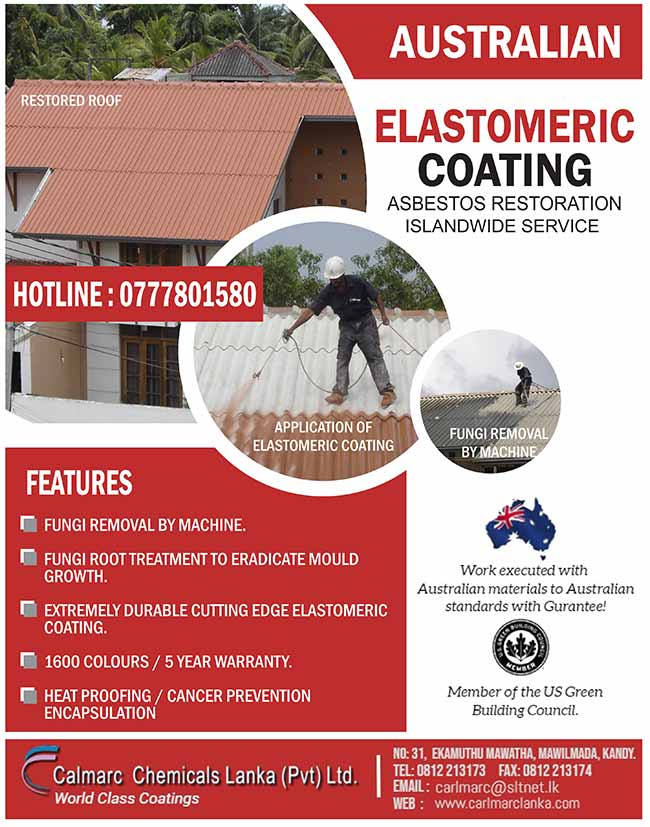 Asbestos Roof Restoration - Calmarc Chemicals Lanka